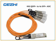 ประเทศจีน 40G QSFP+ to 4x SFP+ AOC QSFP to four SFP+ active optical breakout cable โรงงาน
